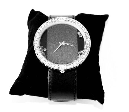 Large Face Black Diamanté watch.