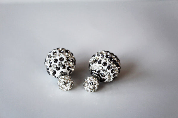Two-sided double colour stripped Grey & White Rhinestone Earrings.