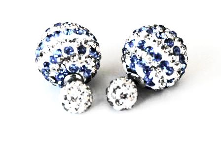 Two-sided double colour stripped Light Blue & White Rhinestone Earrings.