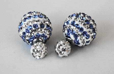 Two-sided double colour stripped Blue & White Rhinestone Earrings.