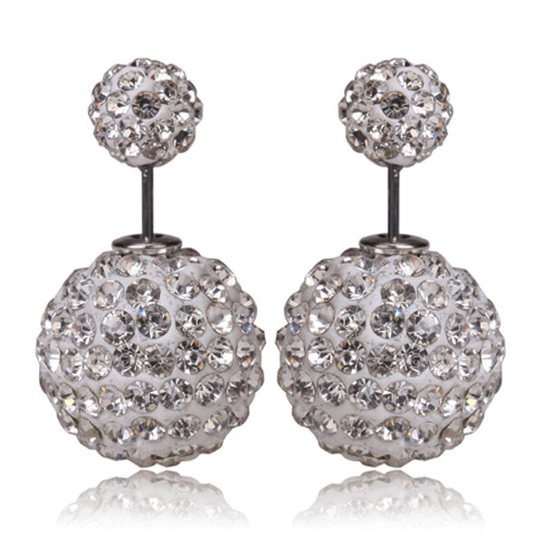 Two-sided White Rhinestone Earrings.