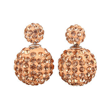 Two-sided Gold Rhinestone Earrings.