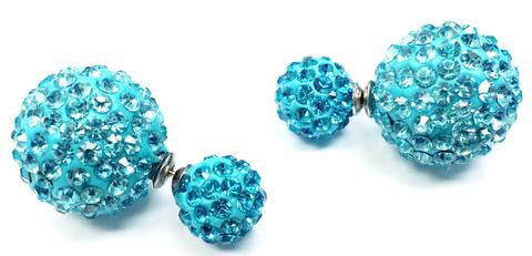 Two-sided Turquoise Rhinestone Earrings.