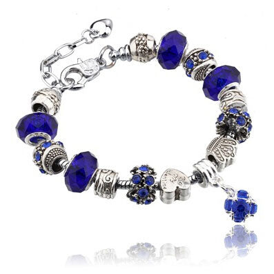 Silver Charms Bracelet - Electric Blue