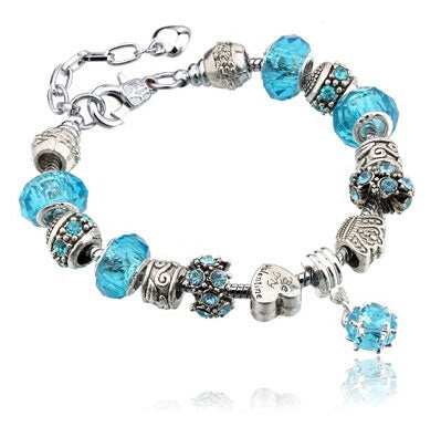 Silver Charms Bracelet - Turquoise