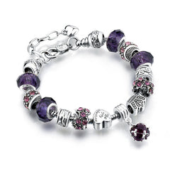 Silver Charms Bracelet - Purple