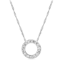 Sterling Silver Round Pendant Necklace.