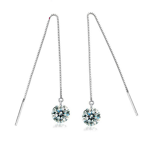 Long Tassel Crystal Earrings.