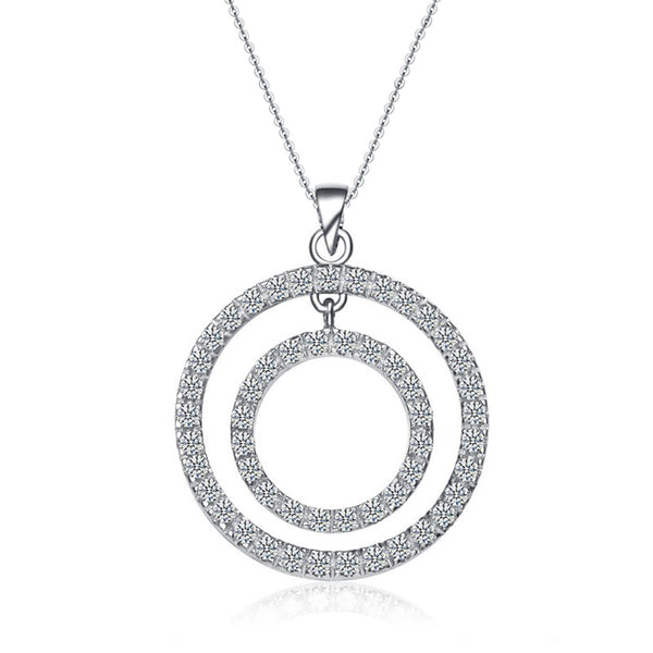 Sterling Silver with Rhodium Plating and Cubic Zircon Necklace.