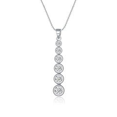 Sterling Silver Necklace Rhodium Pendant Necklace
