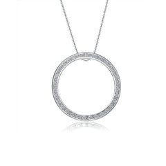 Sterling Silver with Rhodium Plating and Cubic Zircon Stone Necklace.