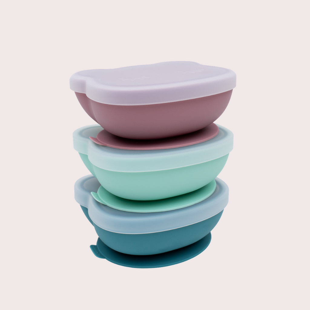 Silicone suction bowls with lid