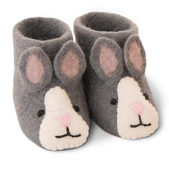 Pashom Nepal Felt Children's Boot Slippers (Grey Bunny)