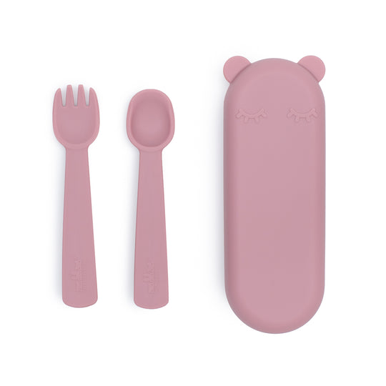 Feedie Fork & Spoon Set - Dusty Rose