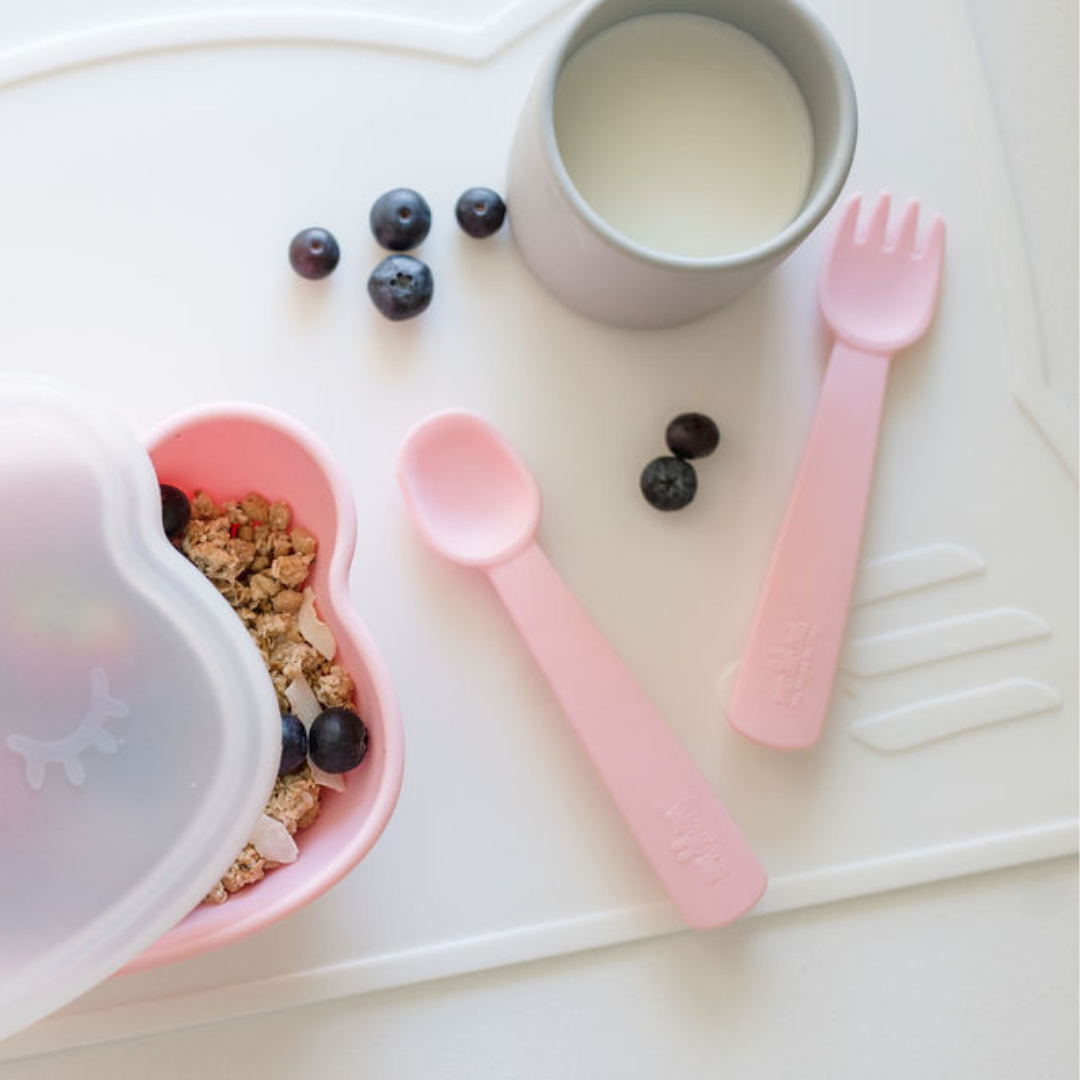 Feedie Fork & Spoon Set - Powder Pink