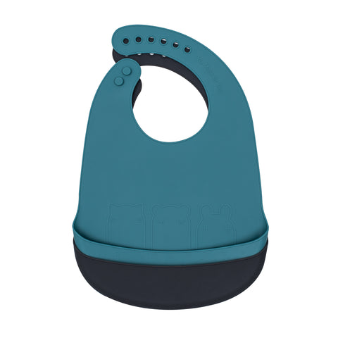 We Might Be Tiny silicone bib with food catcher - Blue dusk and Charcoal