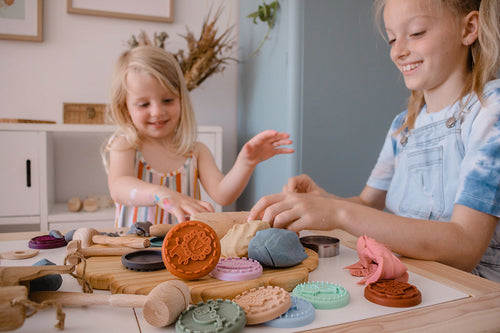 Kids playing with silicone animal playdough stamps