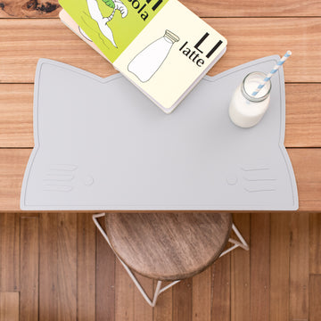 Grey silicone placemat for children