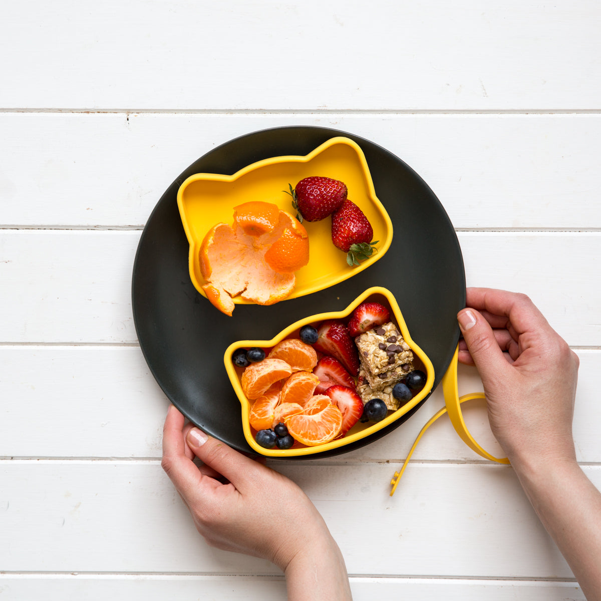 Yellow cat snackie filled with fruit