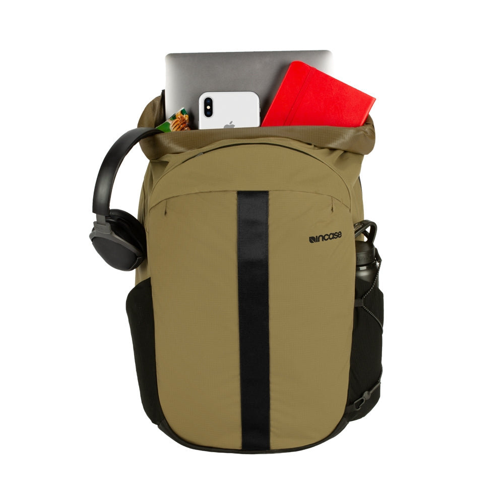 Sand Nylon Ripstop Rolltop bag with a laptop compartment inside