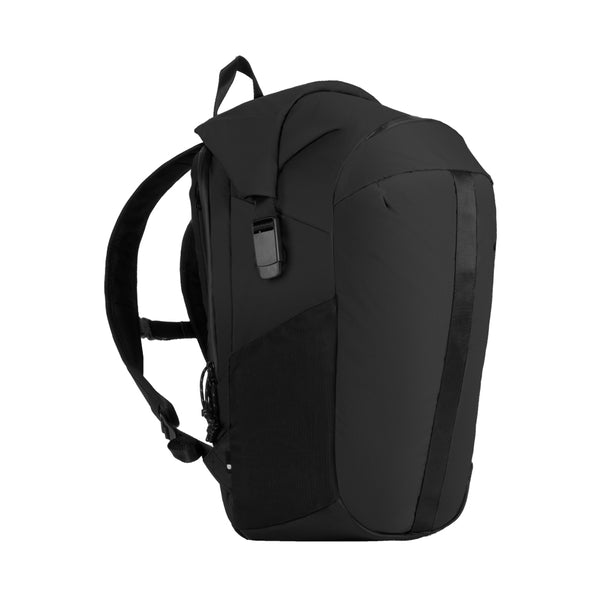 Black Nylon Ripstop Rolltop bag with unique clamp side buckles