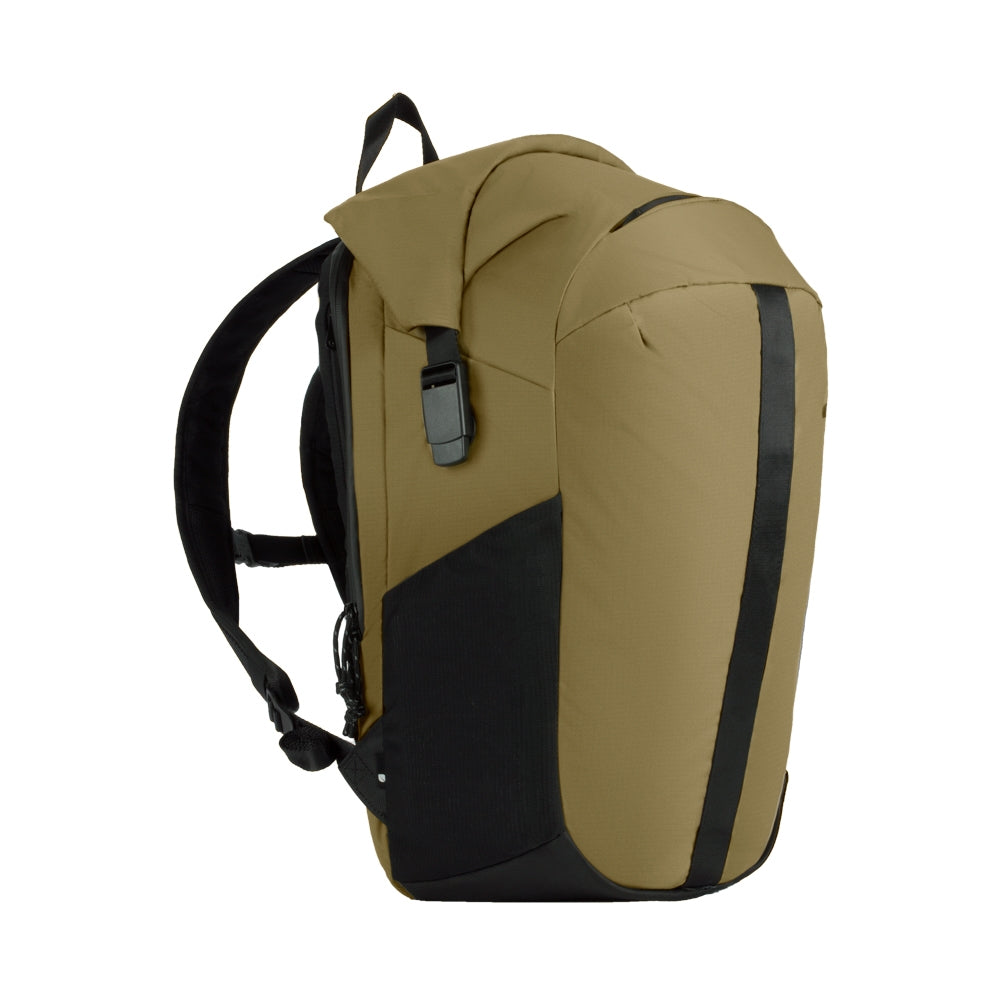 Sand Nylon Ripstop Rolltop bag with mesh side pockets