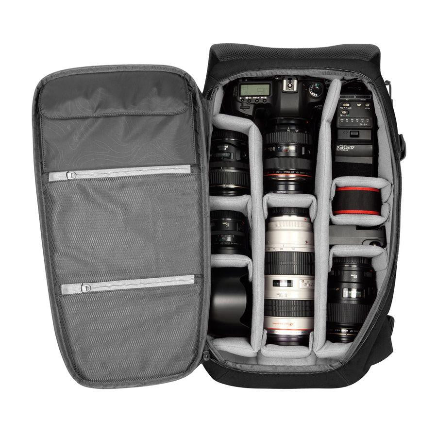 Inside view of camera bag with adjustable compartments