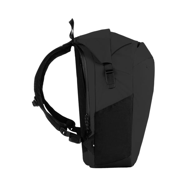 Black Nylon Ripstop Rolltop bag with unique clamp side buckles and mesh side pockets