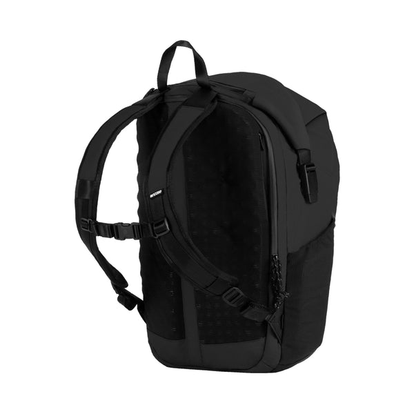 Black Nylon Ripstop Rolltop bag with 3d Foam back plate, chest strap and mesh side pockets