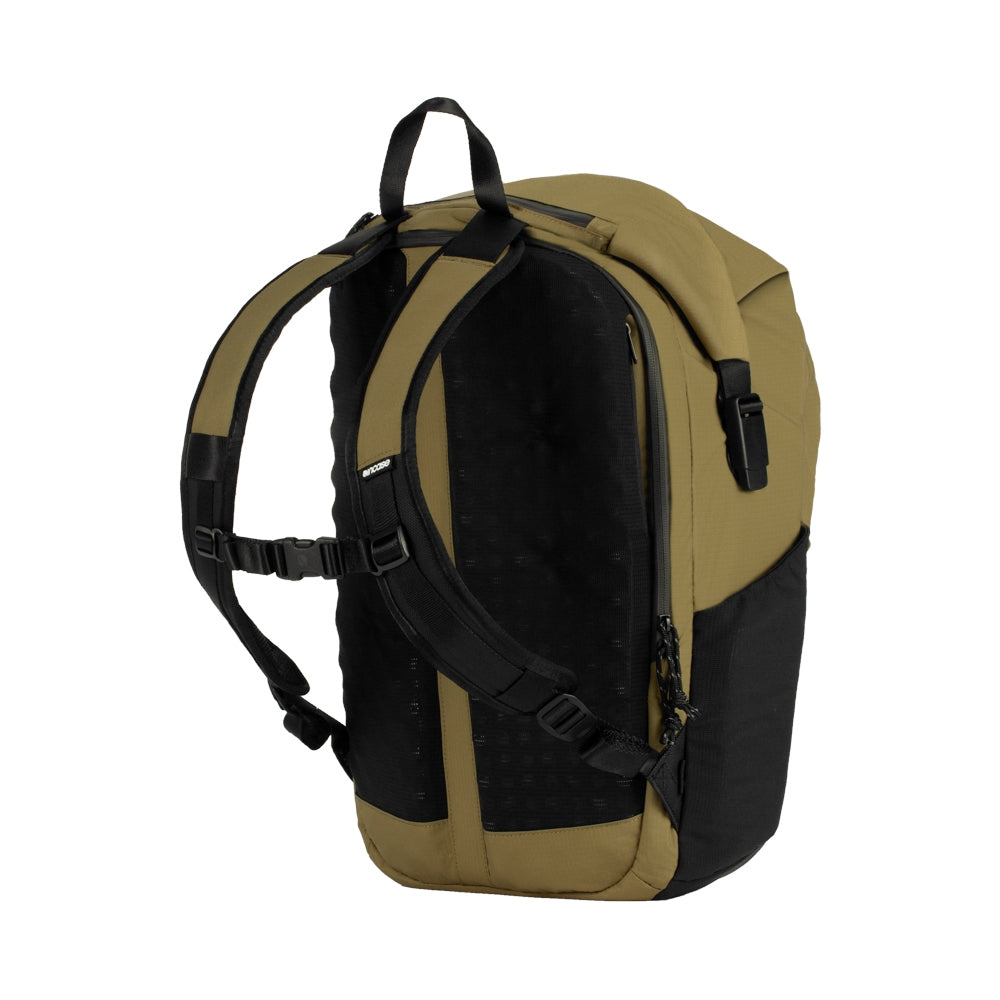 Sand Nylon Ripstop bag with mesh side pockets, 3D foam back plate and chest strap