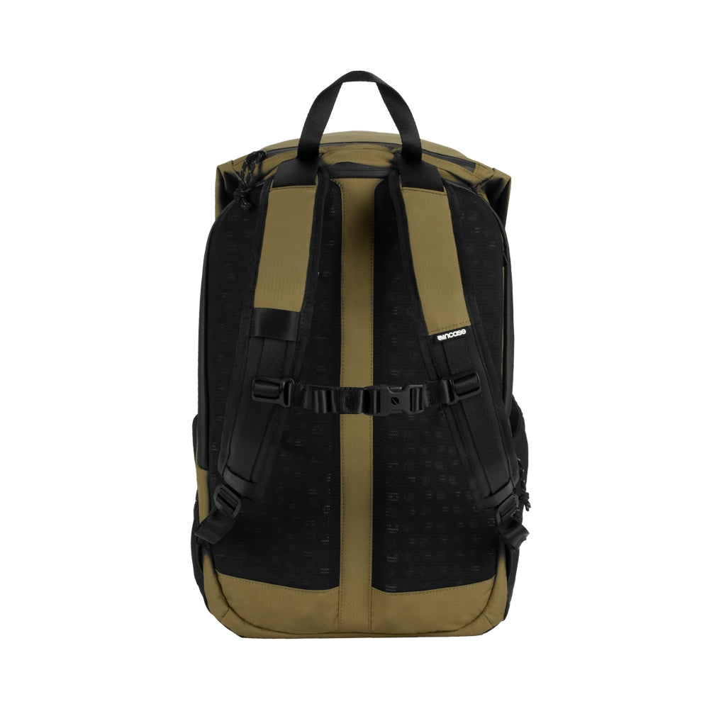 Sand Nylon Ripstop Rolltop bag with 3D foam back plate and a chest strap