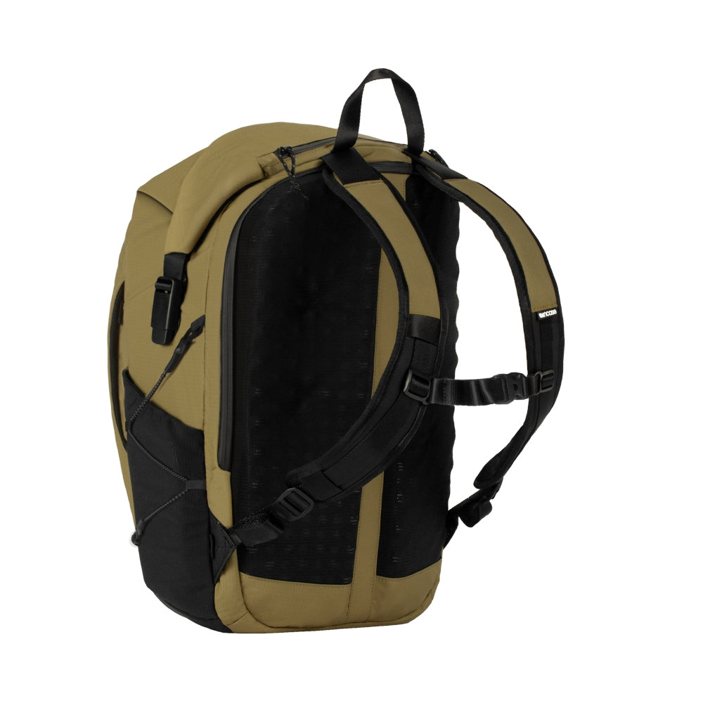 Sand Nylon Ripstop Rolltop bag with 3D foam back plate, chest strap and mesh side pockets