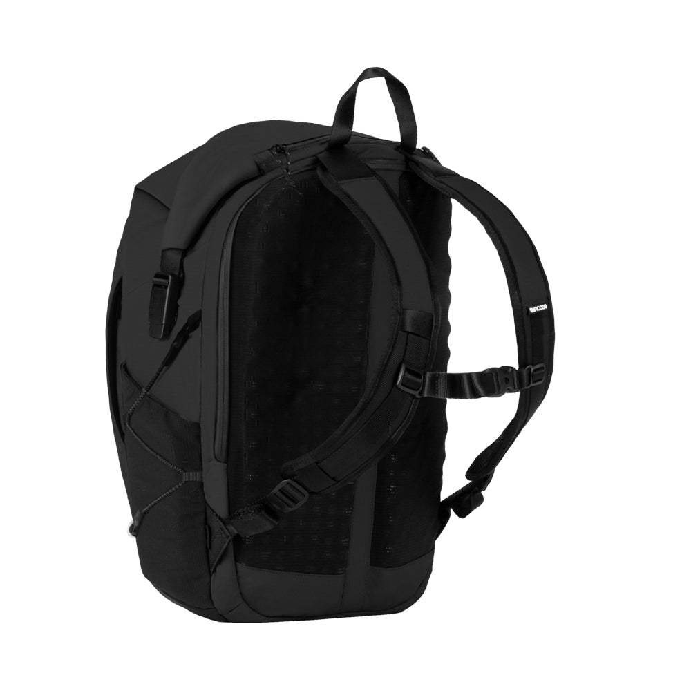 Black Nylon Ripstop Rolltop bag with 3d Foam back plate, chest strap, mesh side pockets and unique side buckle