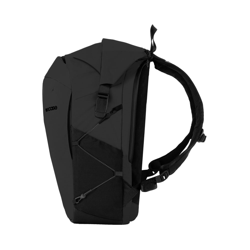Black Nylon Ripstop Rolltop bag with mesh side pockets and a unique side buckle