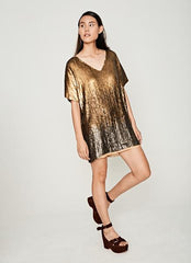 Gold Sequin T-shirt Dress