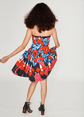 Printed Strapless Short Dress - the rad models