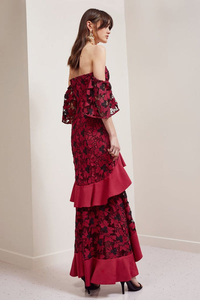 Break Free Lace Gown in Red