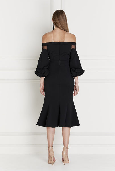 Volaire Crepe Off Shoulder Dress in Black