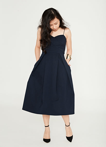 Geordie Midi Dress in Navy