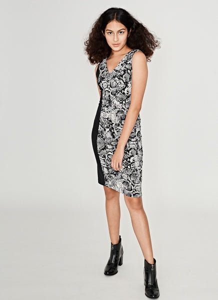 Sleeveless Snake Print Ruched Dress