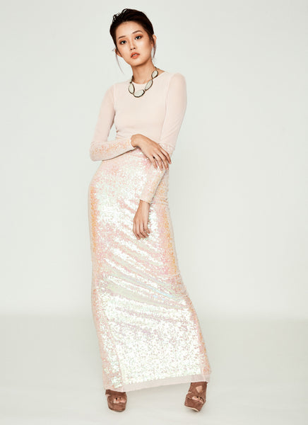 Facet Sequin Maxi Dress