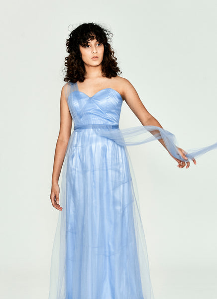 Blue-bell Strapless Gown
