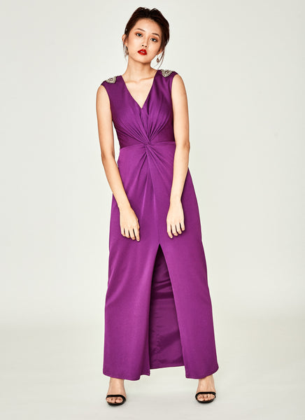 Beaded-Shoulder V-Neck Twist Gown