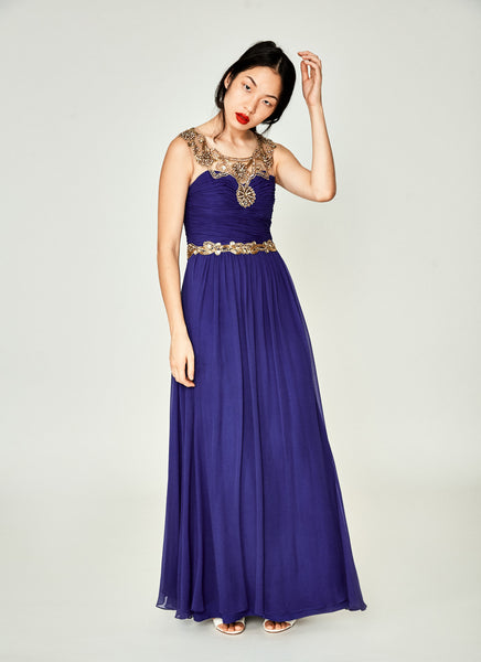Beaded Trim Silk Blend Gown