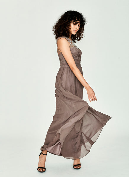 Taupe Sleeveless Embellished Gown