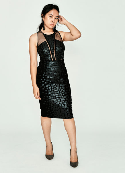 Kamala Faux Leather-Patterned Dress