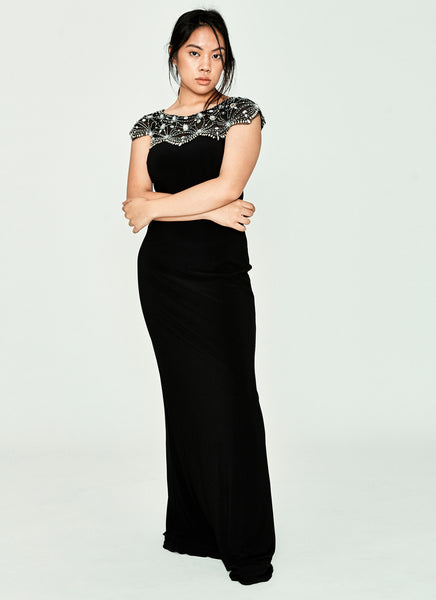 Black Dress With Embellished Neckline