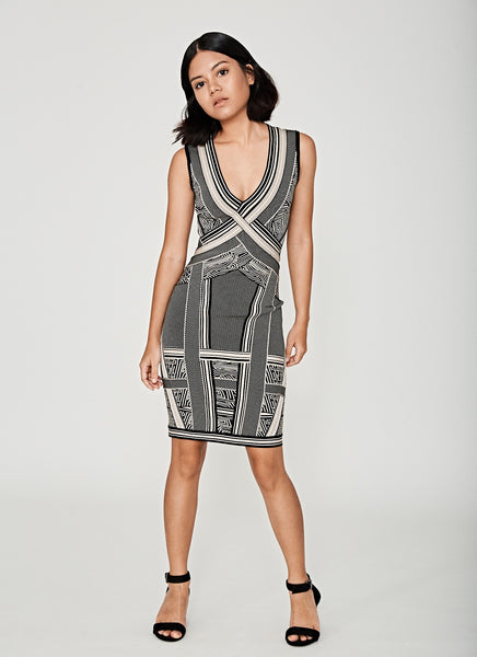 Aztec Monochrome Bandage Dress