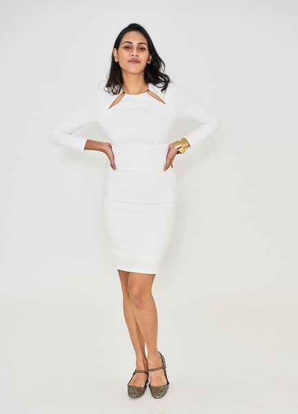 White Sheath Dress with Gold Cut Out Detail