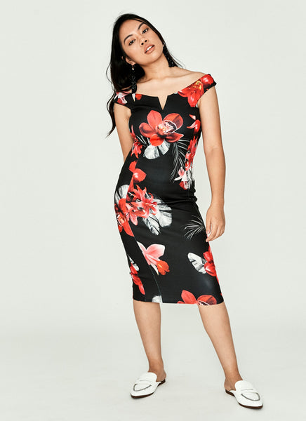 Black & Red Floral Bardot Dress